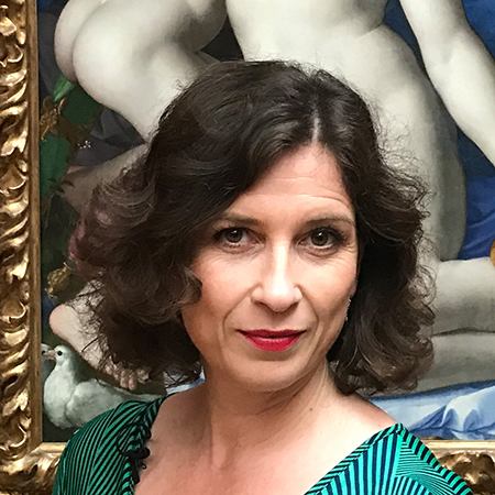 Lynne Hanley in front of Bronzino's Allegory with Venus and Cupid