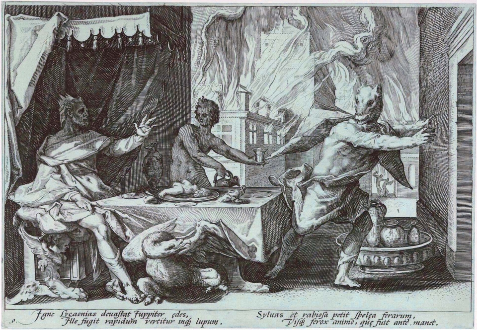 Goltzius, Zeus turning Lycaon into a Wolf for serving him a roasted child