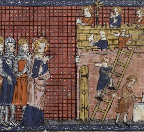 St Valentine from the Unknown artist, Saint Valentine of Terni and his disciples, 14th century, Lives of Saints, Bibliothèque Nationale de France, Paris