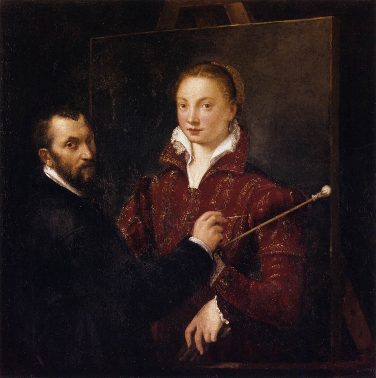 Sofonisba Anguissola portrait of Campi during restoration