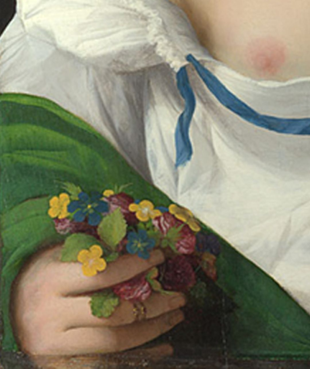 Palma Vecchio, A Blonde Woman detail of posy of flowers