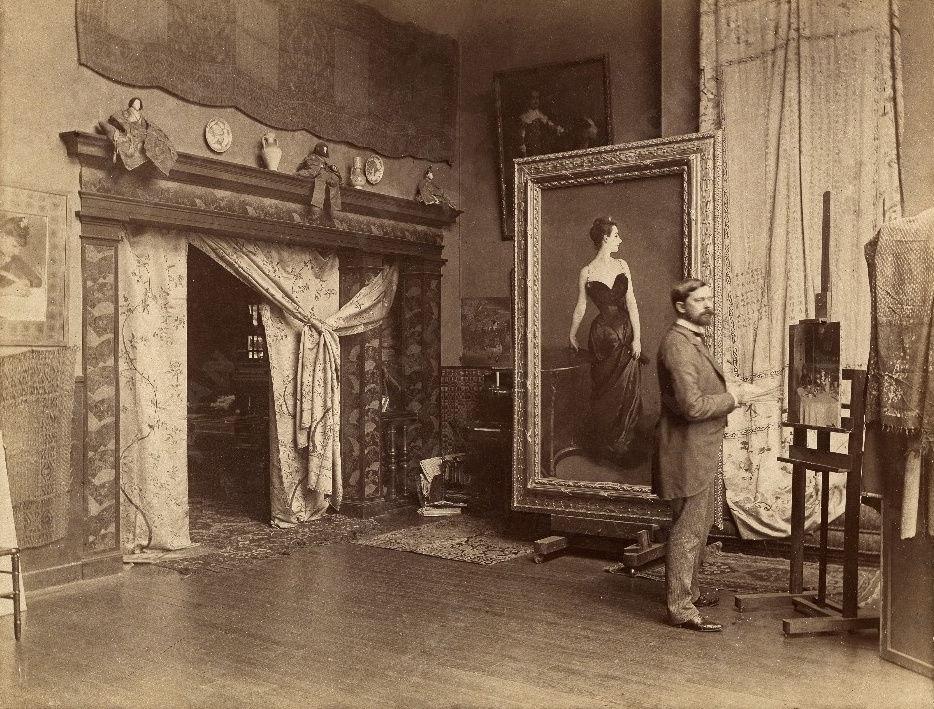 Singer Sargent in artists Studio with portrait of Madame X