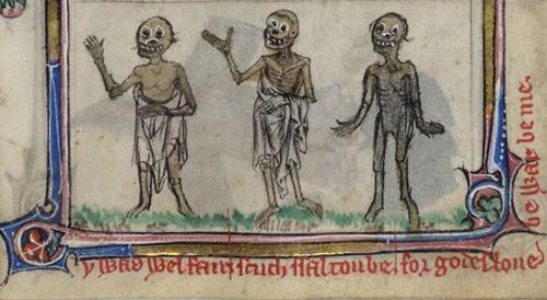 Cheerful dead people, three living three dead