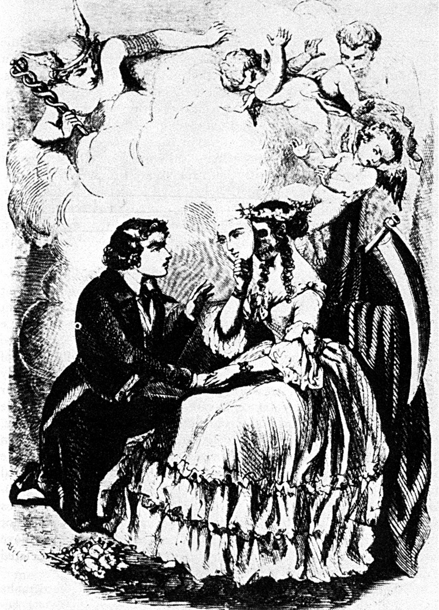 Illustration of Syphilis for 19th century translation of Fracastro poem