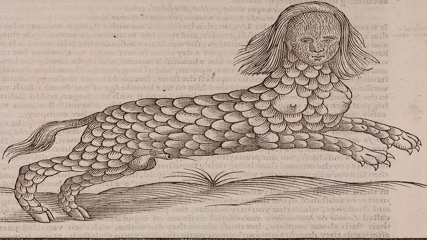 Lamia Edward Topsell woodcut