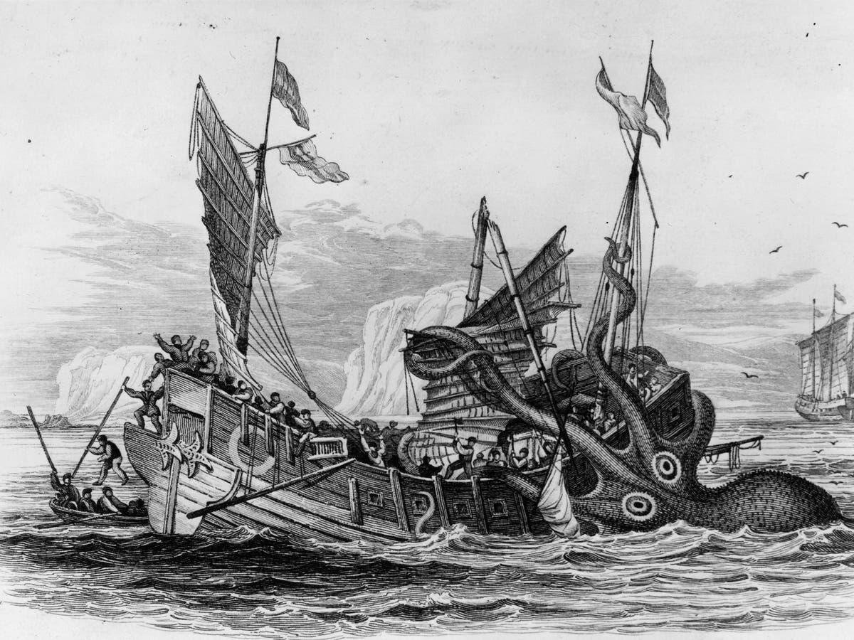 Kraken 1650 image of creature devouring boat