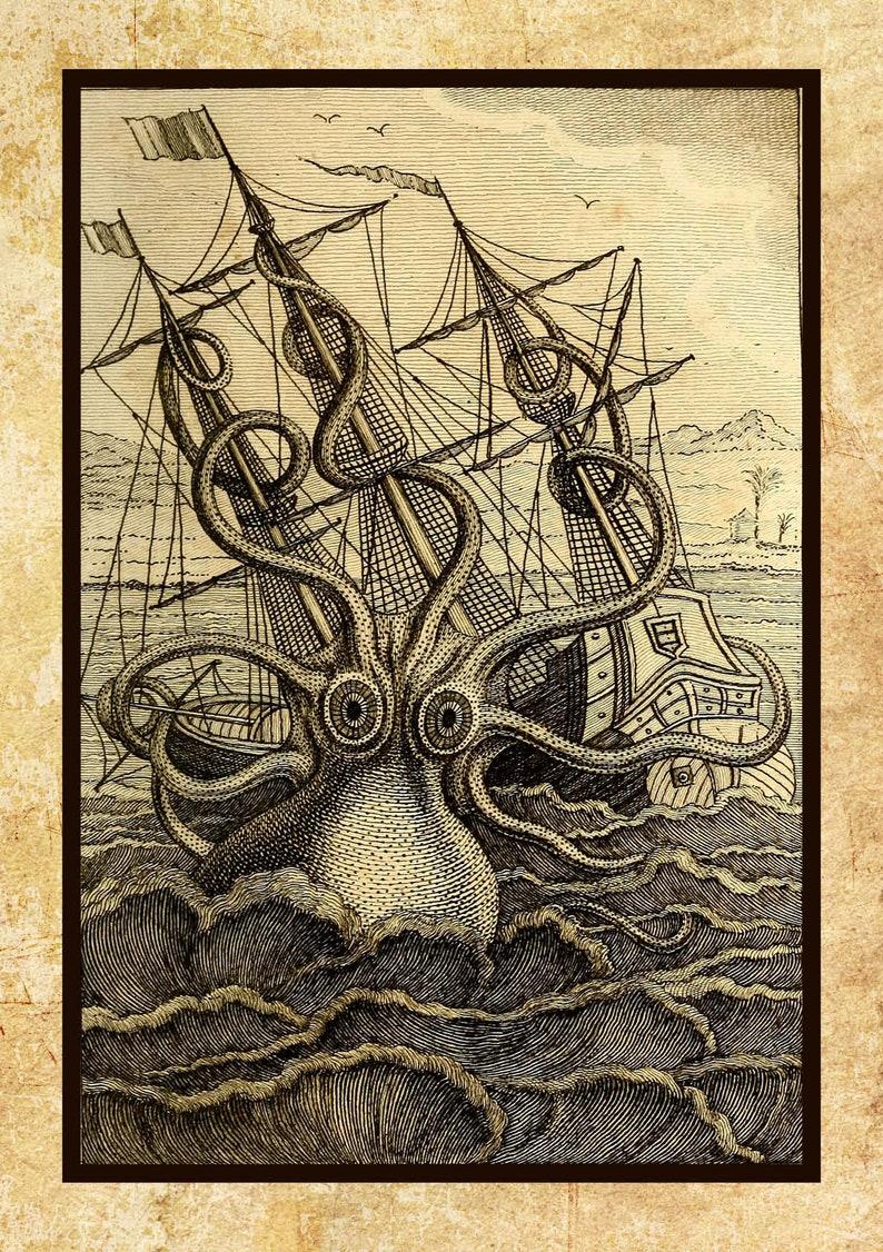 de Montfort giant octopus attacking ship