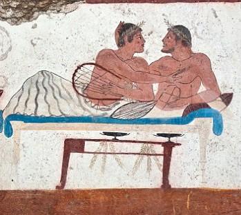 symposium fresco man holding lyre