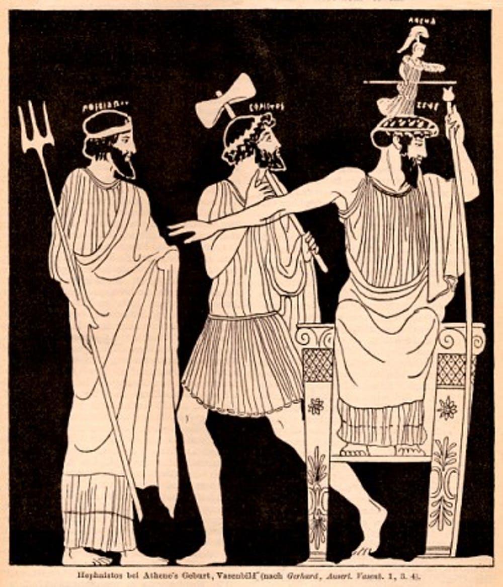 Athena emerging from Zeus's head