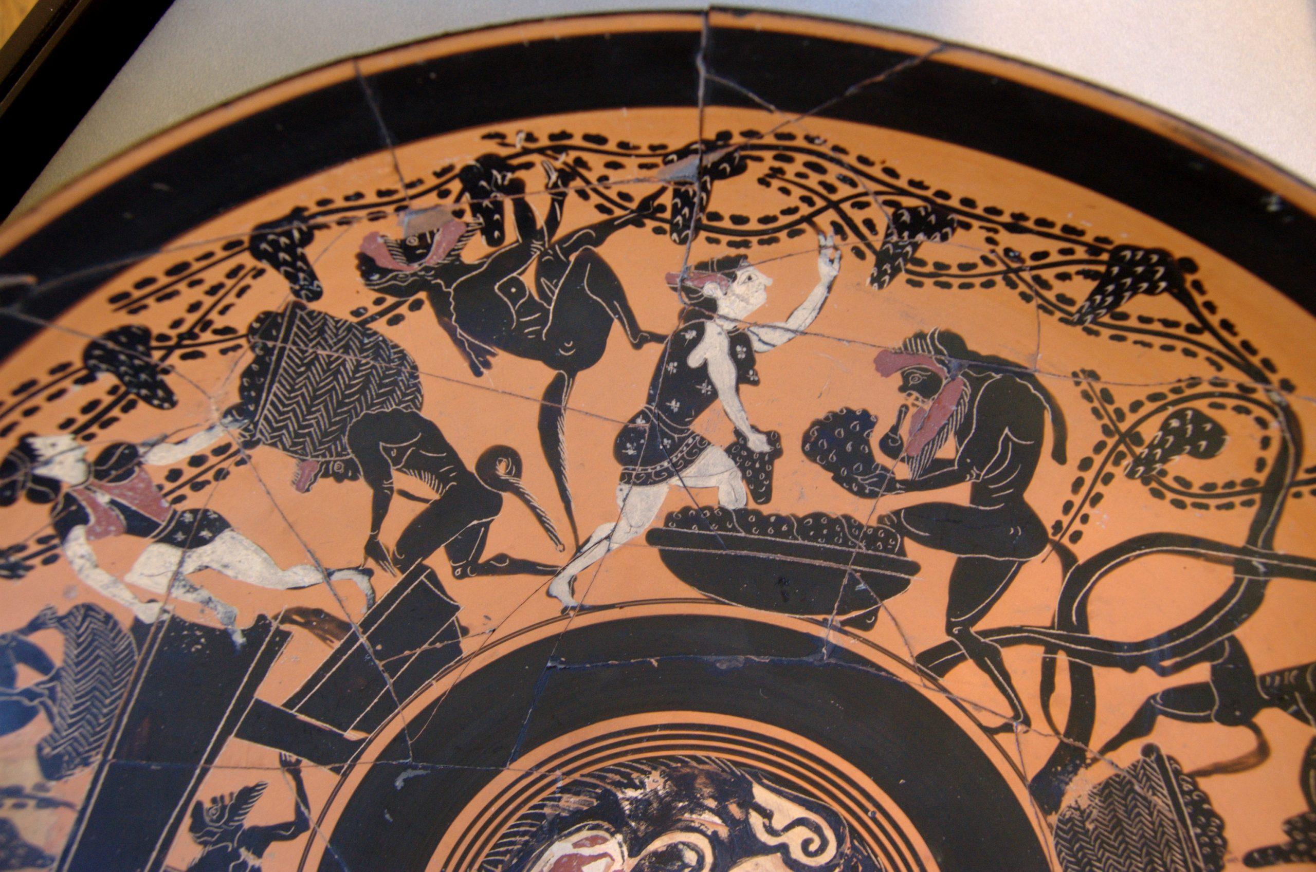 Maenads tending grapes